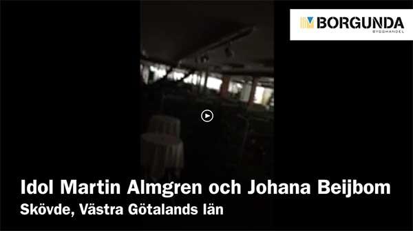 Idol Martin Almgren och Johanna Beijbom inlåsta på Borgunda